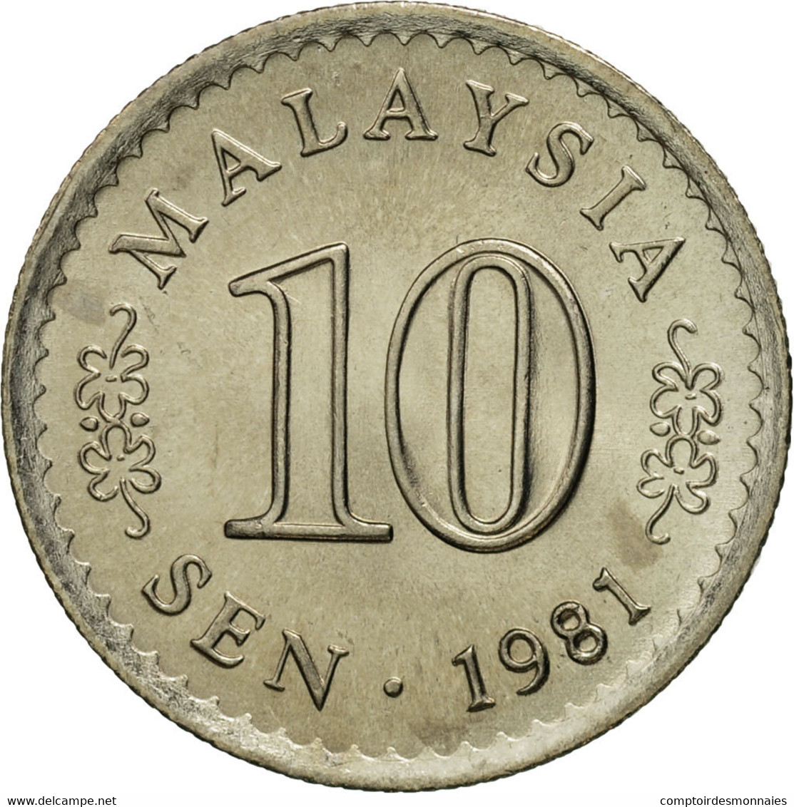 Malaysie, 10 Sen, 1981, Franklin Mint, FDC, Copper-nickel, KM:3 - Malaysie