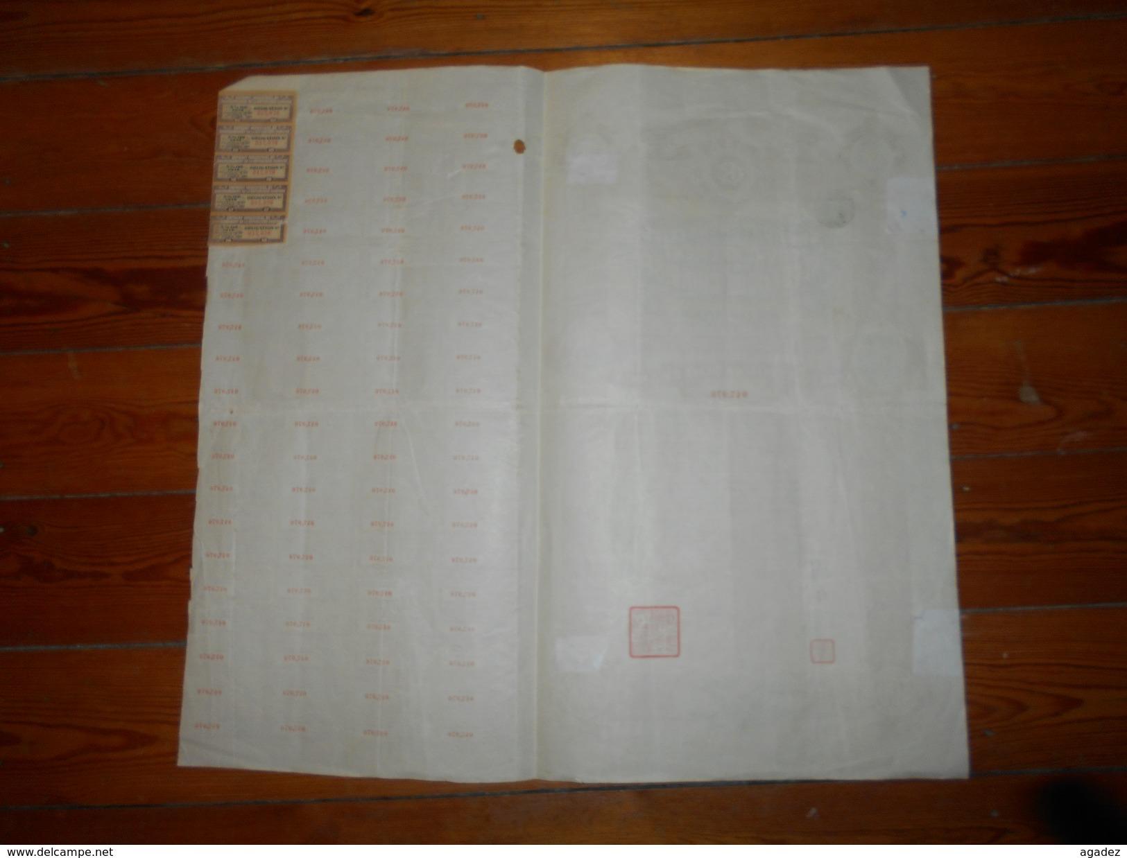 Obligation De 500 F Emprunt Industriel Du Gouvernement De La Republique Chinoise 5% Or De 1914  N°047976 - Asie