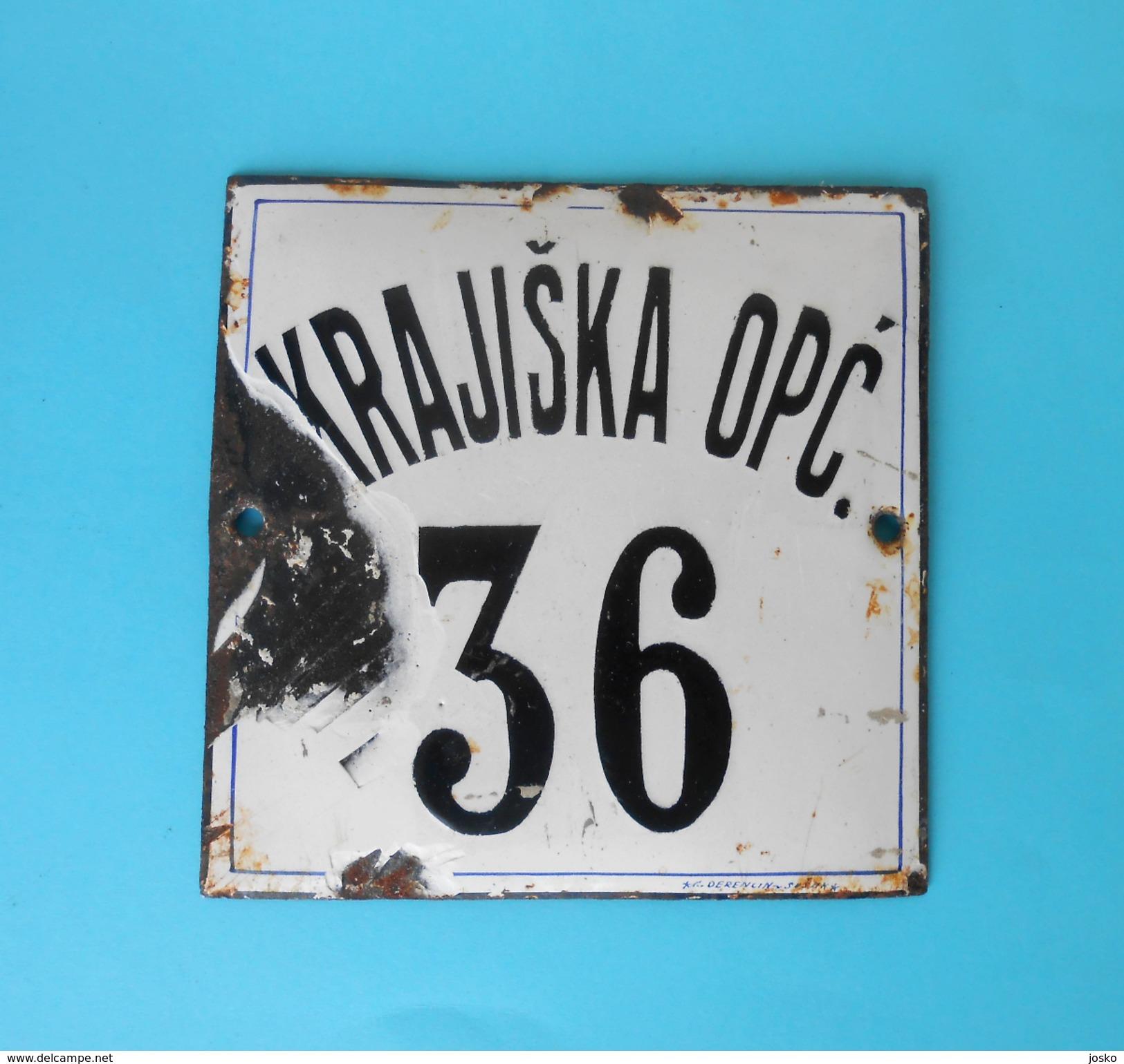KRAJISKA OPC. 36 Vintage Enamel Porcelain Sign By Derencin, Susak - Croatia ( Yugoslav Kingdom ) PLAQUE ANCIENNE EMAILLE - Tabak