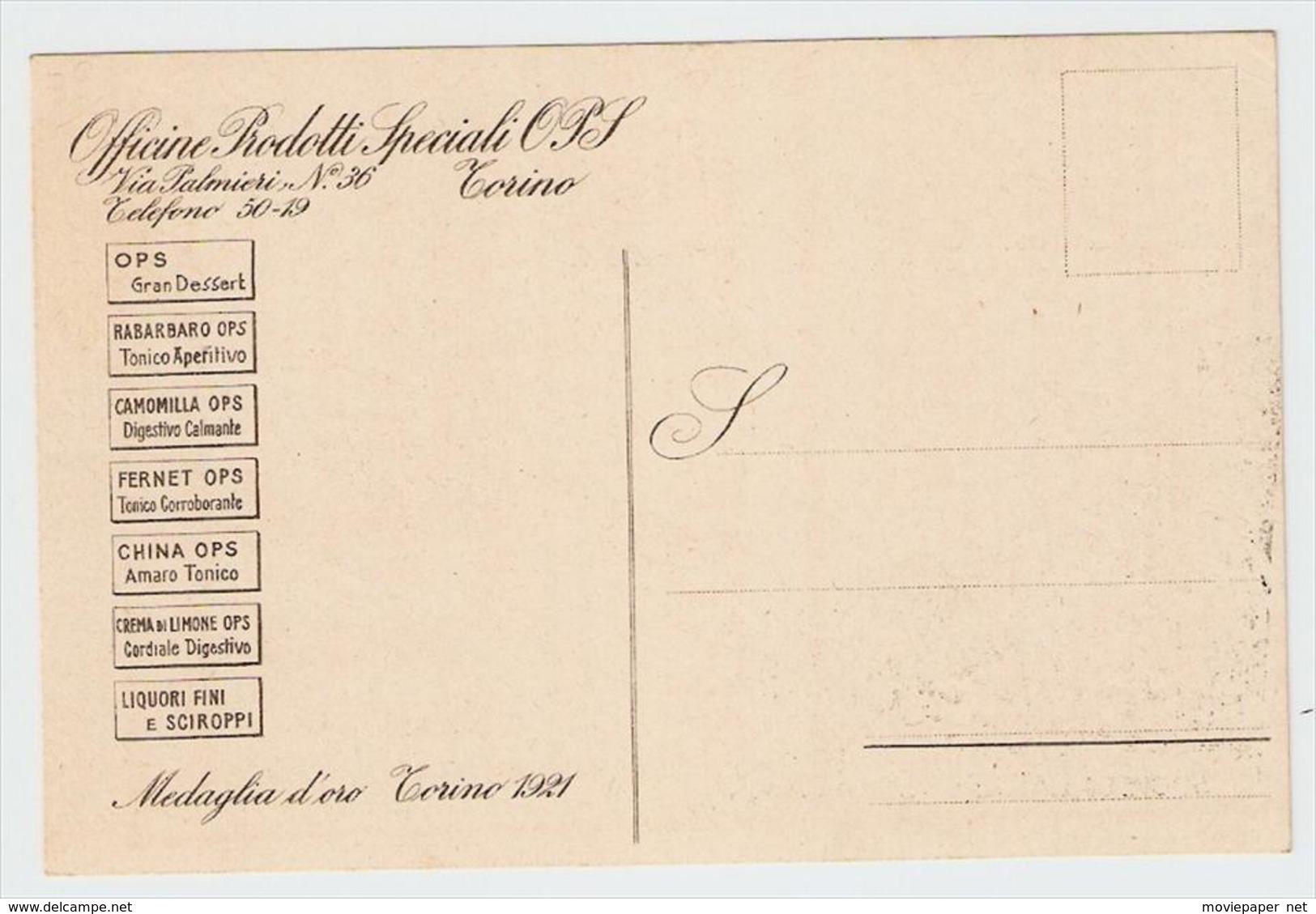 Cartolina Commerciale Pubblicitaria Torino OPF Officine Prodotti Speciali Fernet China NV - Altri