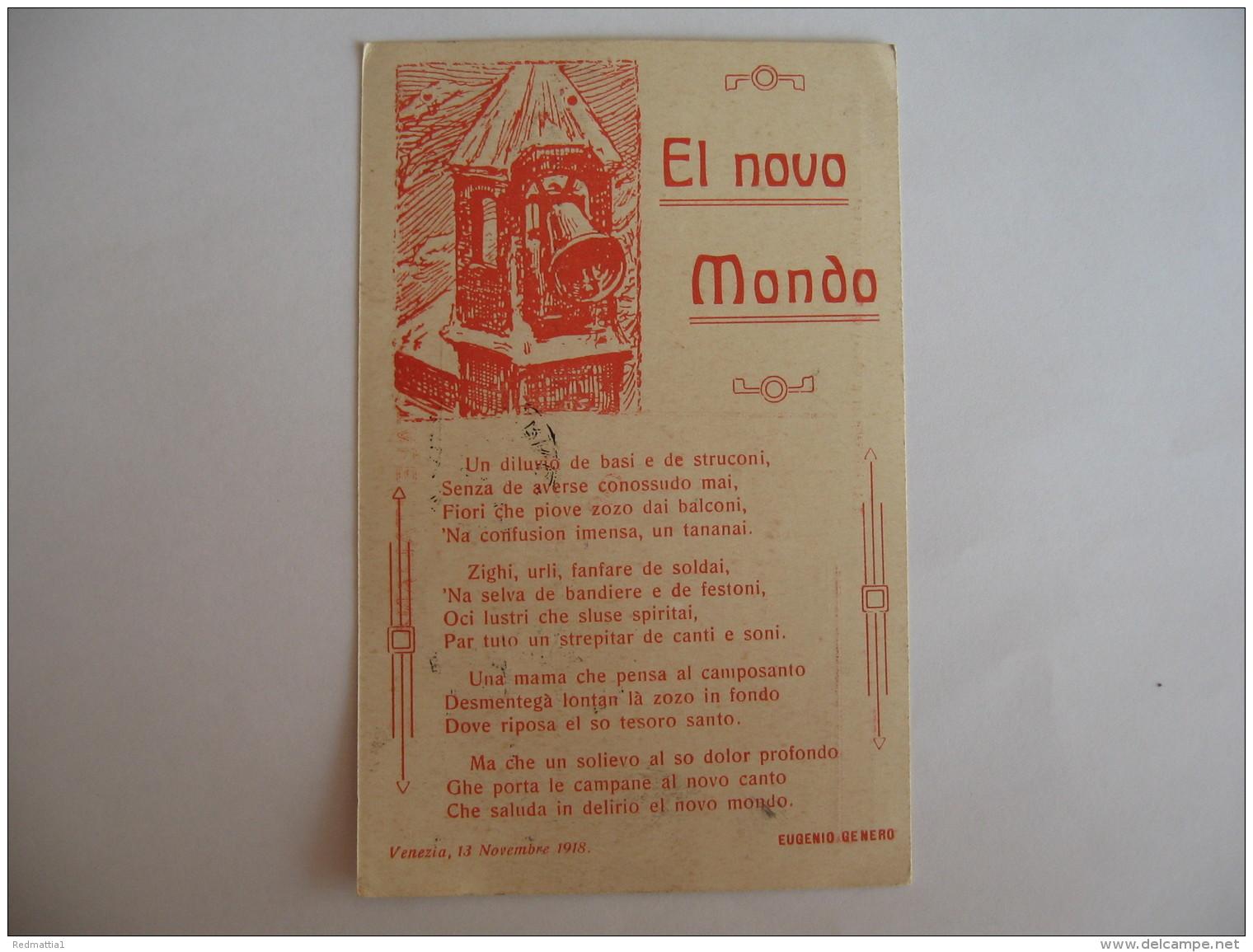 CARTOLINA FORMATO PICCOLO -  EL NOVO MONDO EUGENIO GENERO 1918   - B 2181 - Venezia