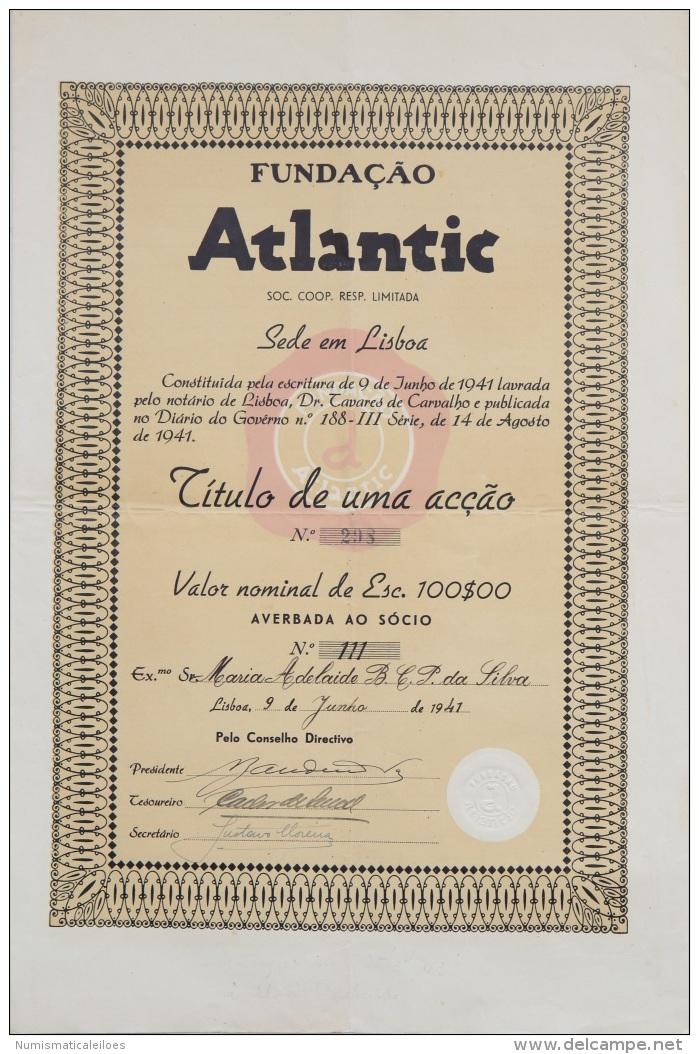 Share - Fundação Atlantic - 100$00 1941 - Unclassified