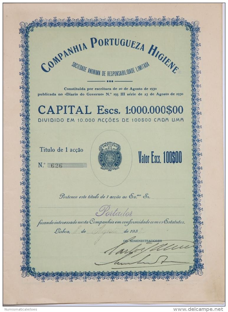 Share - Companhia Portugueza Higiene - 100$00 1932 - Unclassified