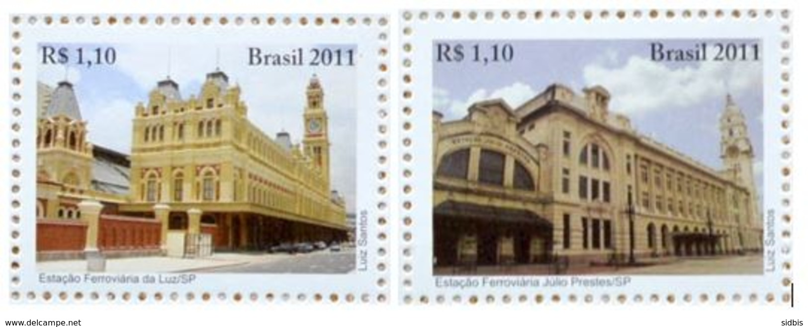 BRAZIL 2011 RAILWAY STAIONS - Unused Stamps