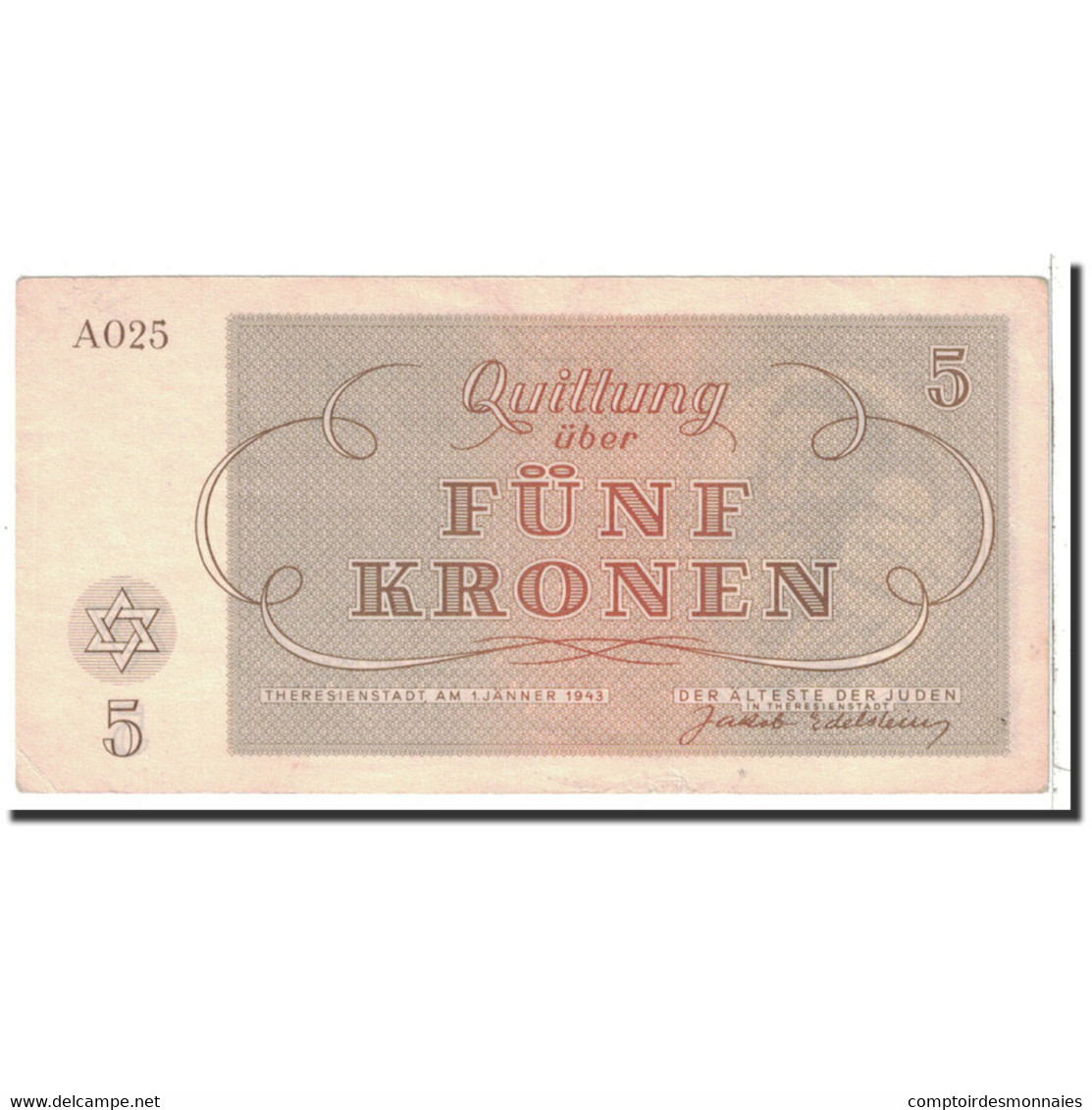 Tchécoslovaquie, 5 Kronen, 1943, 1943-01-01, SUP - Tsjechoslowakije