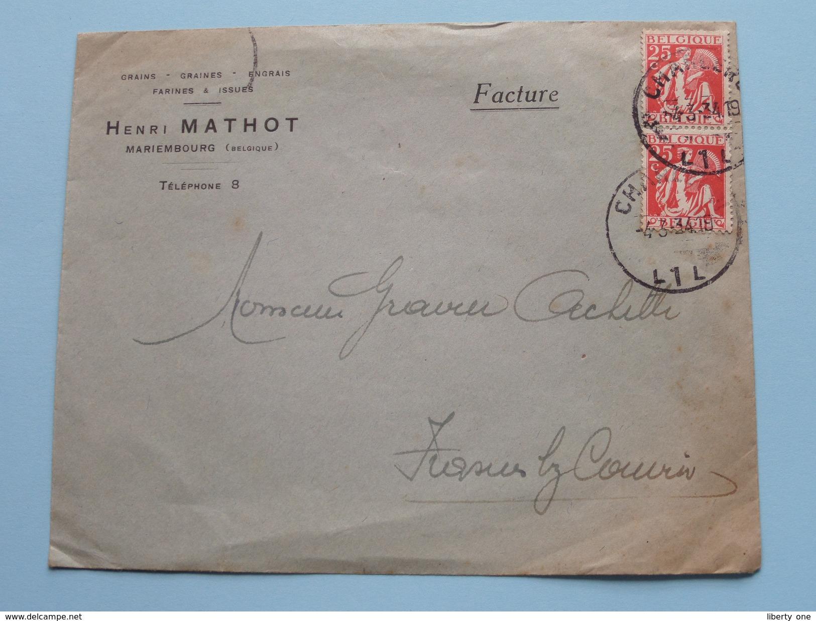 HENRI MATHOT Mariembourg Tél : 8 ( Omslag / Enveloppe ) Stamp 1934 ( Zie/voir Foto Voor/pour Détails ) ! - Cachets Généralité