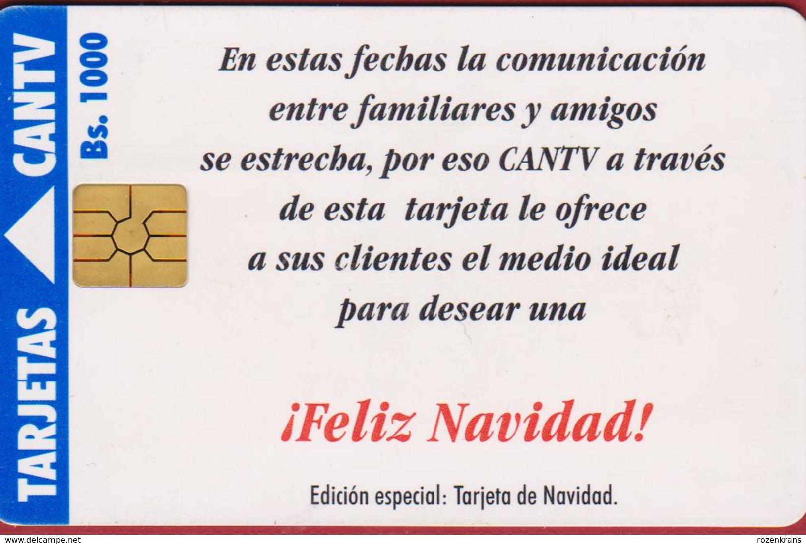 Venezuela CANTV Christmas Noel Kerstmis Feliz Navidad Telefoonkaart Telecarte PHONECARD Tarjeta Telecard TELEFONKARTE - Telecom Operators