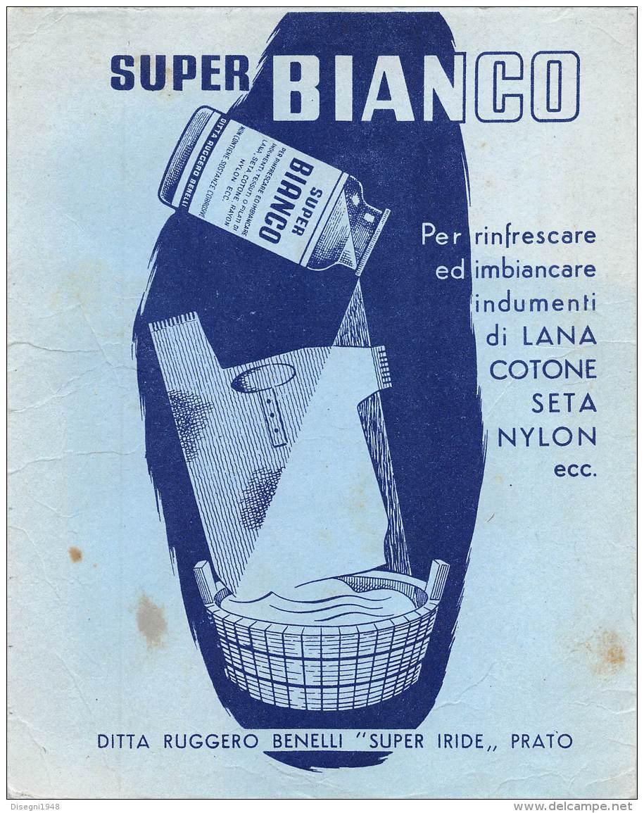 "06816 ""SUPER BIANCO - DITTA RUGGERO BENELLI - SUPER IRIDE - PRATO"" CARTA ASSORB. ORIGINALE - Pulizia"