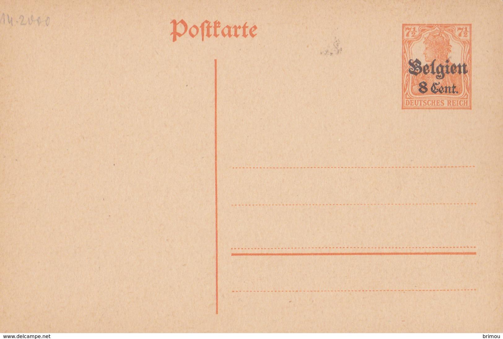 Allemagne, Entier Postal. - Zone Belge