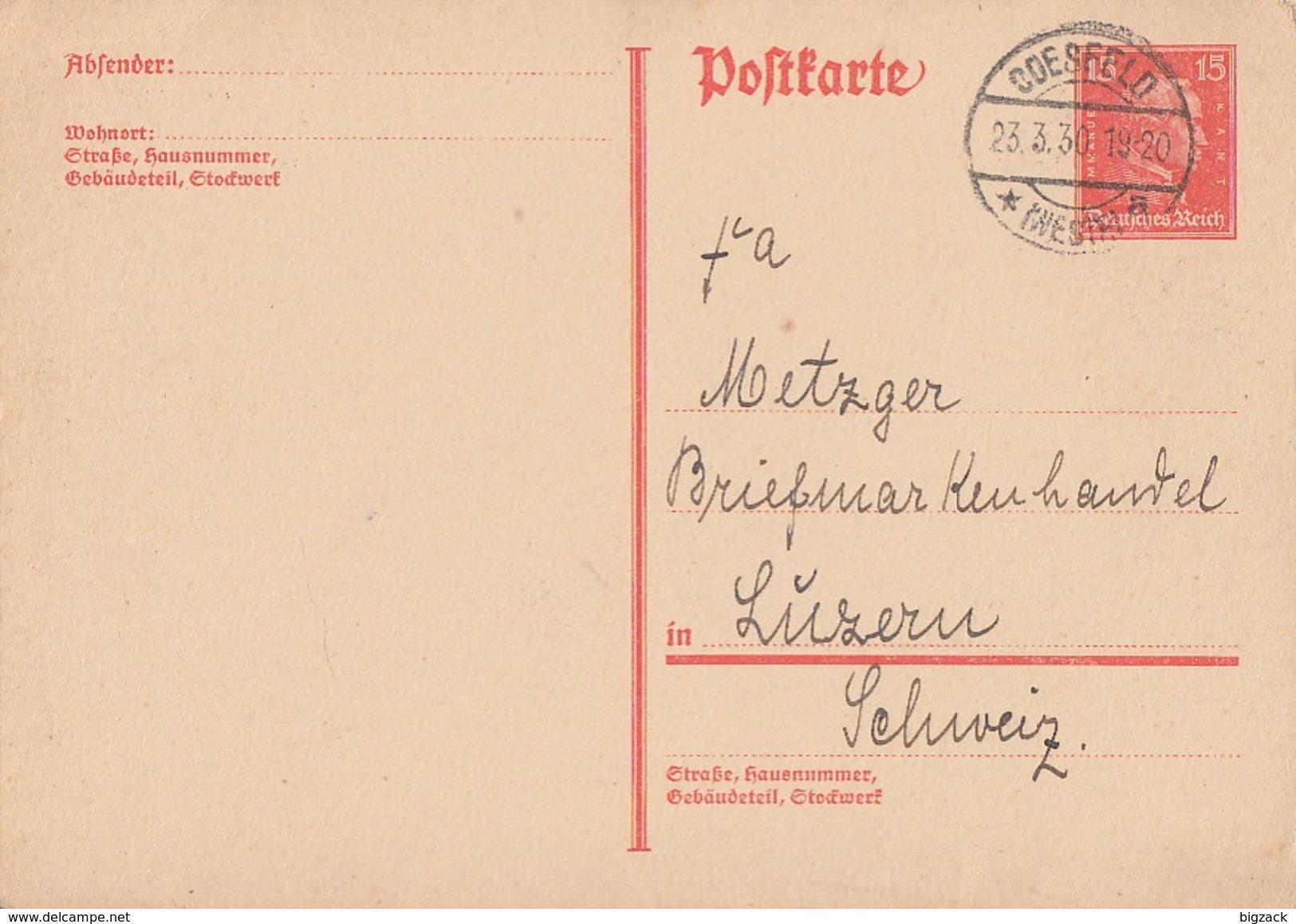 DR Ganzsache Minr.P171 Coesfeld 23.3.30 Gel. In Schweiz - Deutschland