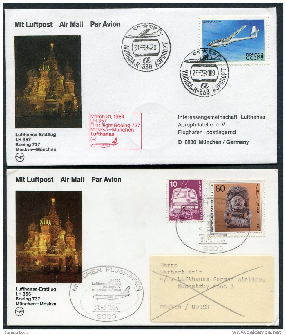 1984 Russia Germany Lufthansa First Flights (2) Moscow / Munich - 1923-1991 USSR
