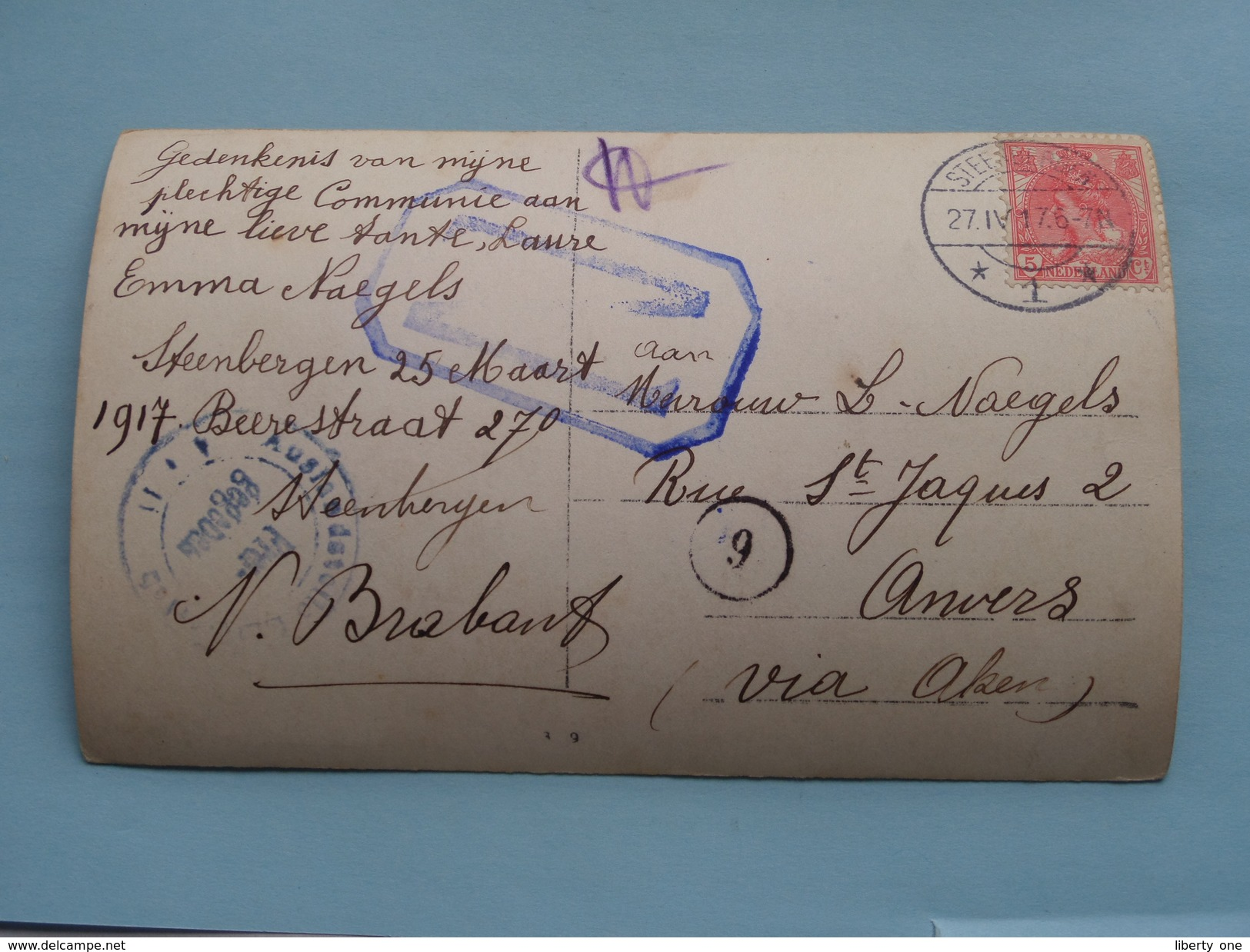 Familiefoto Periode W.O.1 Afstempeling STEENBERGEN Nederland 1917 Fam. Naegels > Fam. Naegels Anvers ! - Pays-Bas