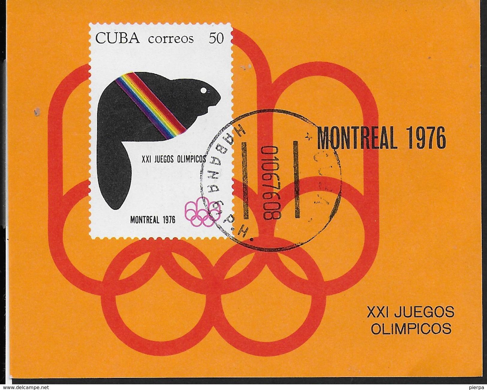 CUBA - XXI GIOCHI OLIMPICI A MONTREAL 1976 -  FOGLIETTO USATO - Estate 1976: Montreal