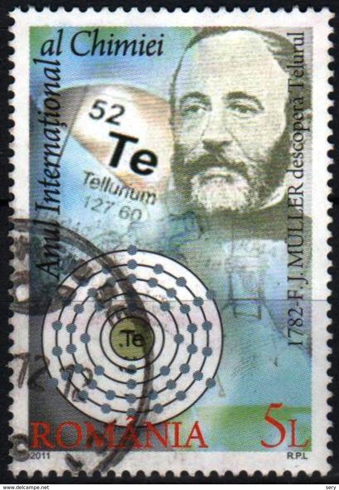 Romania 2011 1  V Used International Year Of Chemistry  F.J.Muller Tellurium  Chemical Element - Chimica