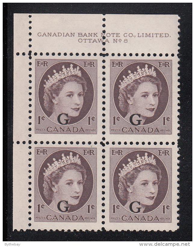 Canada MNH Scott #O40 'G' Overprint On 1c QEII Wilding Plate #8n Upper Left PB - Overprinted