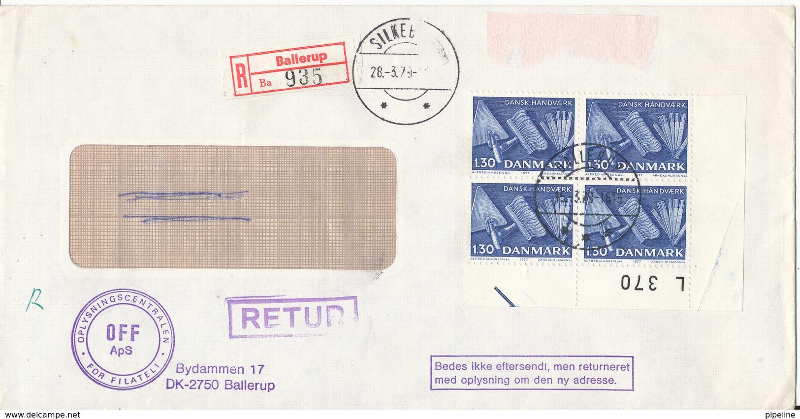 Denmark Registered Cover Sent To Silkeborg Ballerup 15-3-1979 And Returned To Sender 28-3-1979 - Denmark