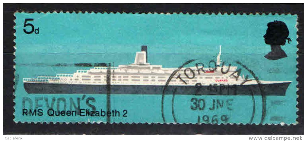 GRAN BRETAGNA - 1969 - NAVI BRITANNICHE: ELISABETH II - USATO - Oblitérés