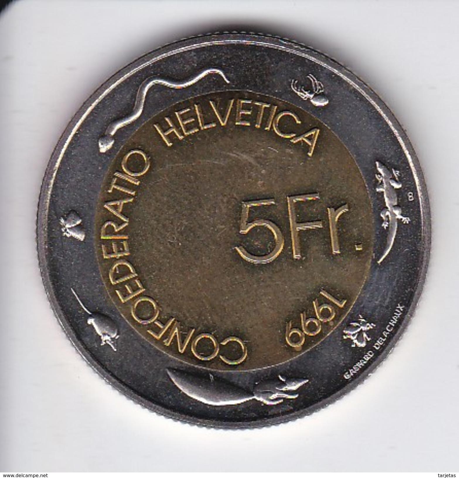 MONEDA DE SUIZA DE 5 FRANCS FIESTA DE LOS VENDIMIADORES DEL AÑO 1999 (COIN) BIMETALICA - Suiza