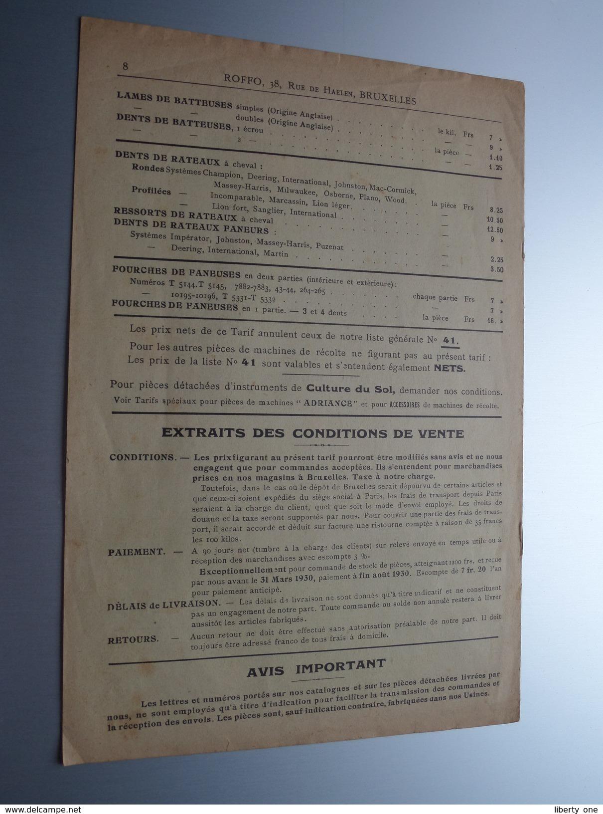 """ROFFO Paris / Bruxelles """" Sections """" COLUMBIA """" Liste Tarif BG Dec. 1929 ( Zie Foto ) ! - Publicités"""