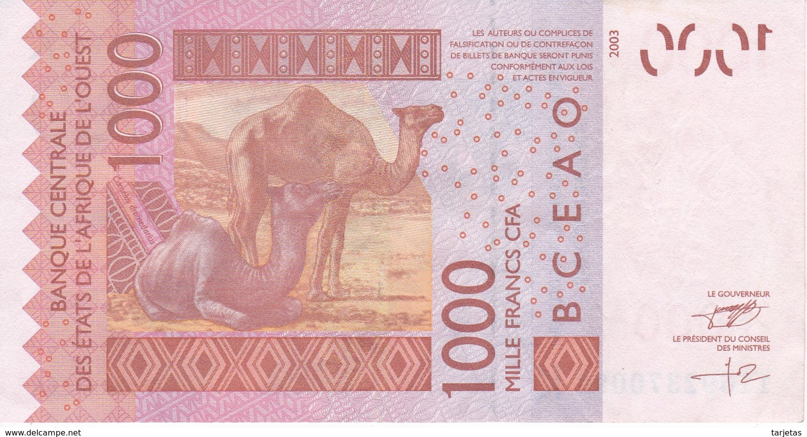 BILLETE DE SENEGAL DE 1000 FRANCS DEL AÑO 2003 CALIDAD EBC (XF) (CAMELLO-CAMEL) (BANK NOTE) - Sénégal