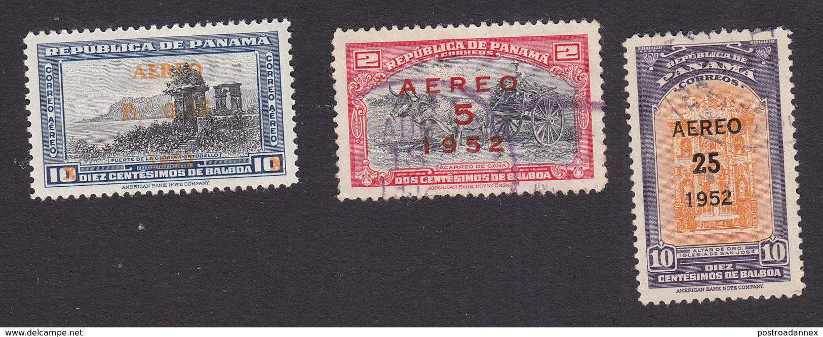 Panama, Scott #C127, C129-C130, Mint Hinged/Used, Scenes Of Panama Surcharged, Issued 1952 - Panama