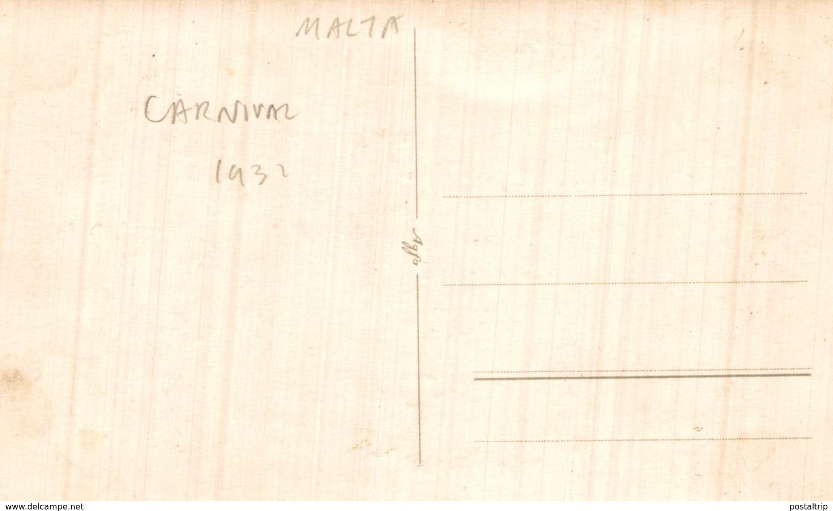 REAL PHOTO  POSTCARD     CARNAVAL 1931     A MERRY XMAS MALTA - Malta