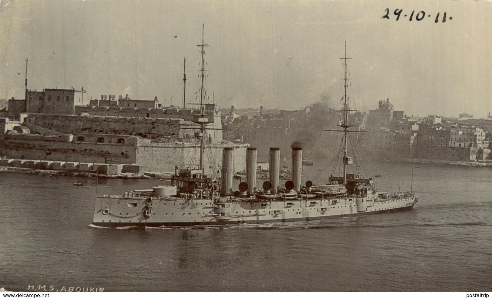 REAL PHOTO  POSTCARD HMS ABOUKIR 1911  MALTA - Malta