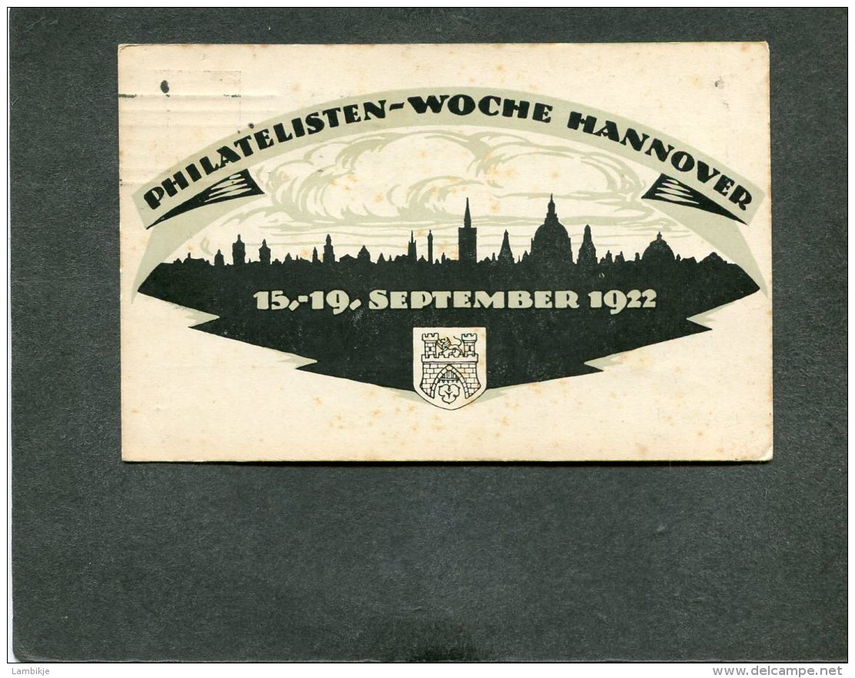 Deutsches Reich Postkarte 1922 Philatelistentag Hannover - Deutschland