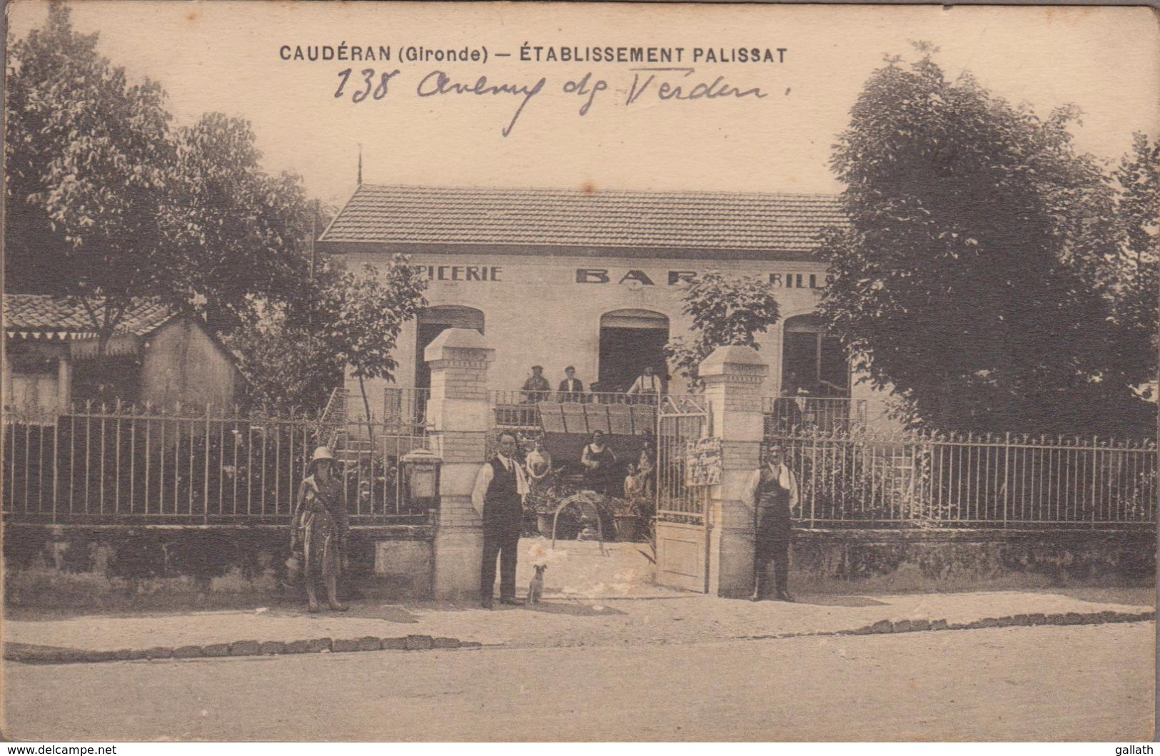 33200-CAUDERAN-Etablissement PALISSAT, 138 Avenue De Verdun...  Animé Bar, Epicerie, Billard 1936 (verso Timbre Décollé) - France