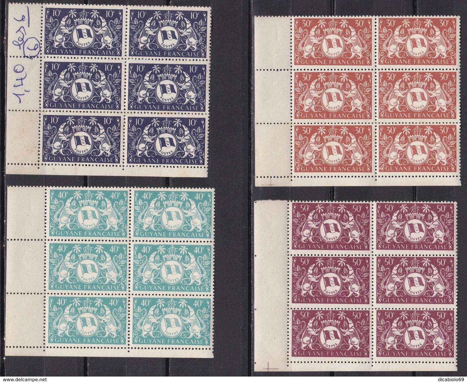 Guyane 1945 - N°182 à N°187 En Blocs De 6 - TTB - Unused Stamps