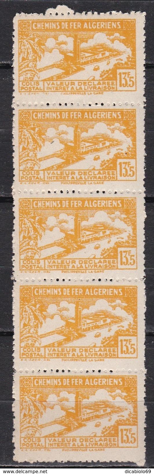 Algérie 1943 - Colis Postaux N°116a - Bande De 5 Timbres Neufs** - TTB - Algérie (1924-1962)