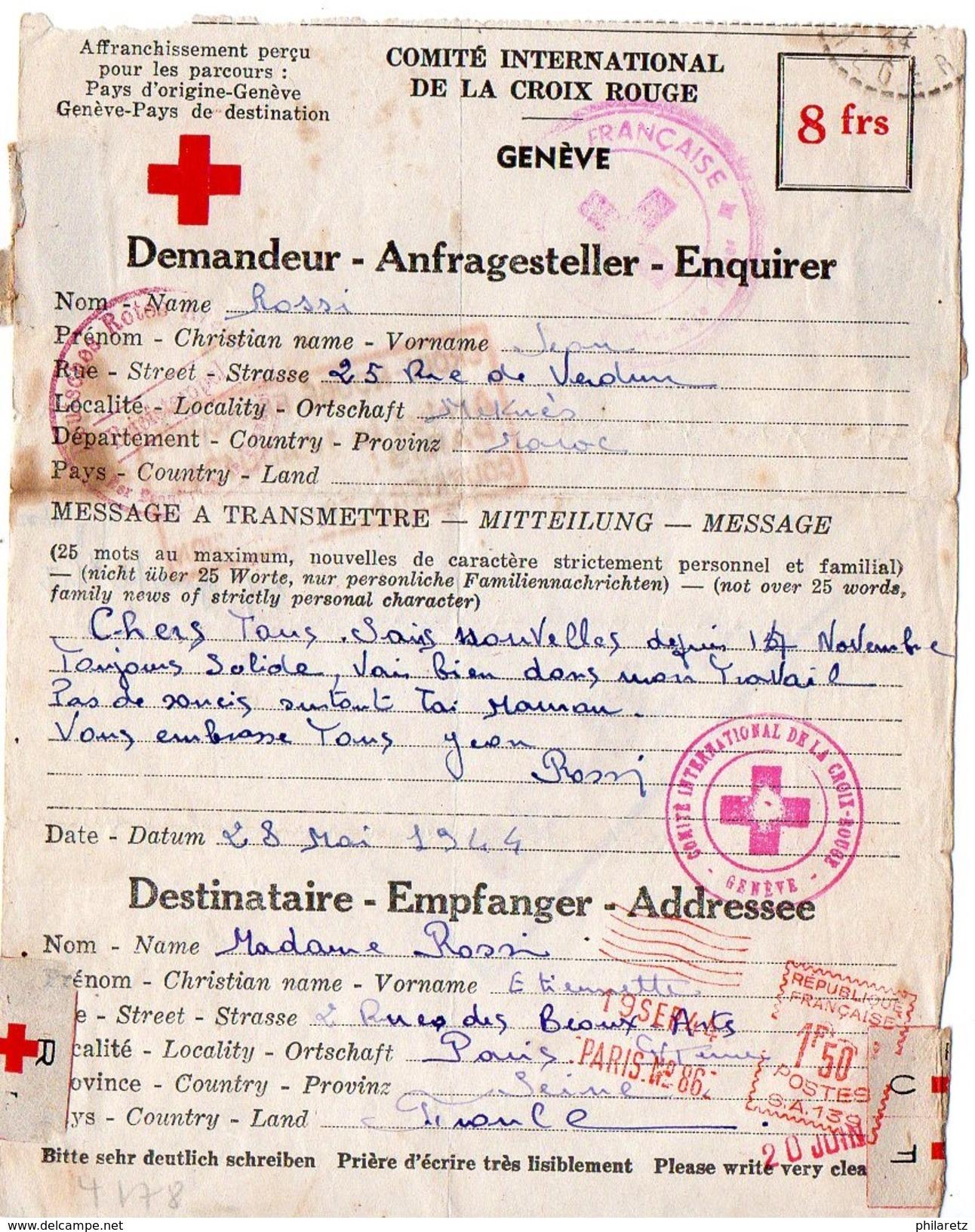EMA à 1f50 Sur Message Croix-rouge De 1944 En Provenance Du Maroc - Cachet Verso En Violet - Marcophilie (Lettres)