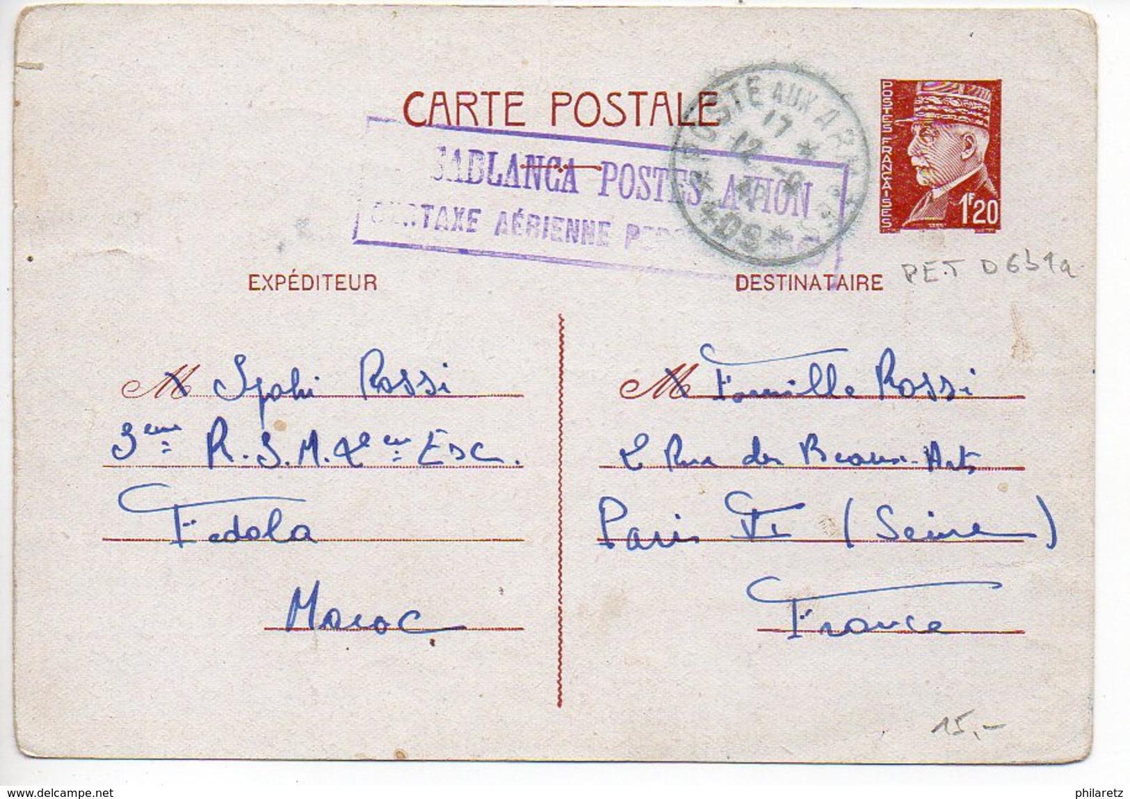 Entier Postal Carte 1f20 Pétain - Provenance Du Maroc Avec Cachet Violet Encadré De Casablanca Postes Avion (CaD T&P 409 - Entiers Postaux
