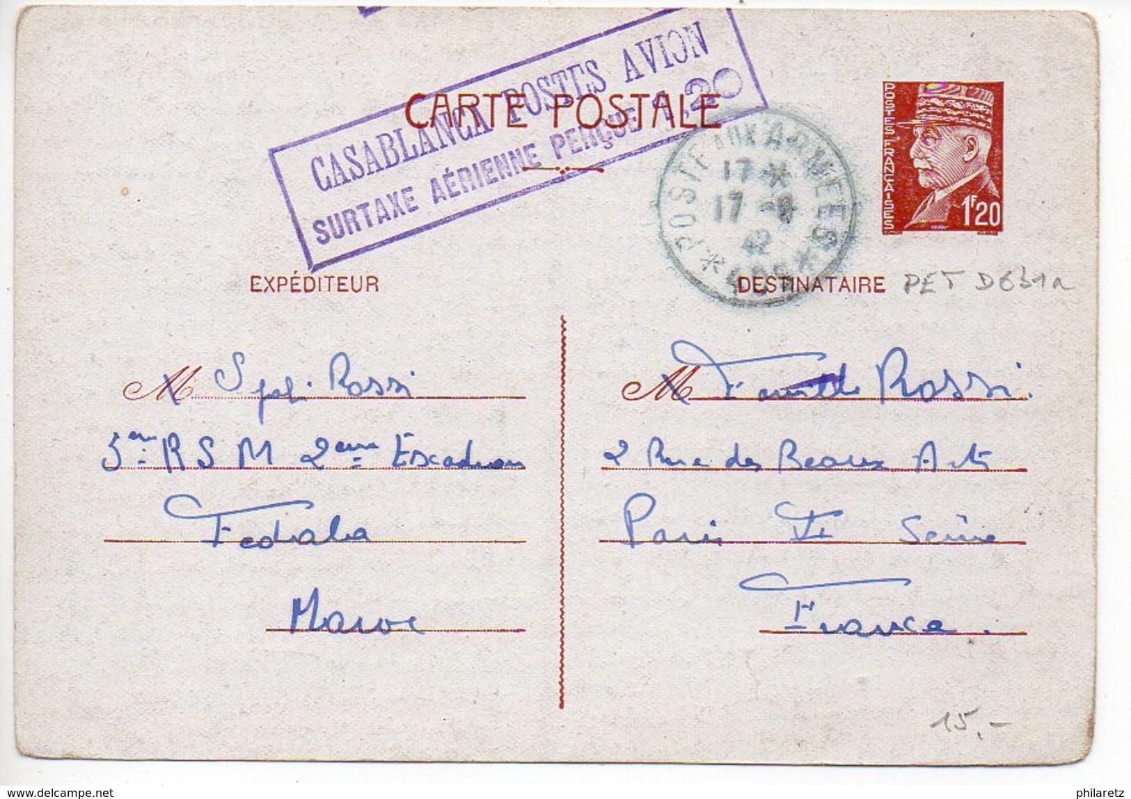 Entier Postal Carte 1f20 Pétain - Provenance Du Maroc Avec Cachet Violet Encadré De Casablanca Postes Avion (CaD T&P 409 - Cartes Postales Types Et TSC (avant 1995)