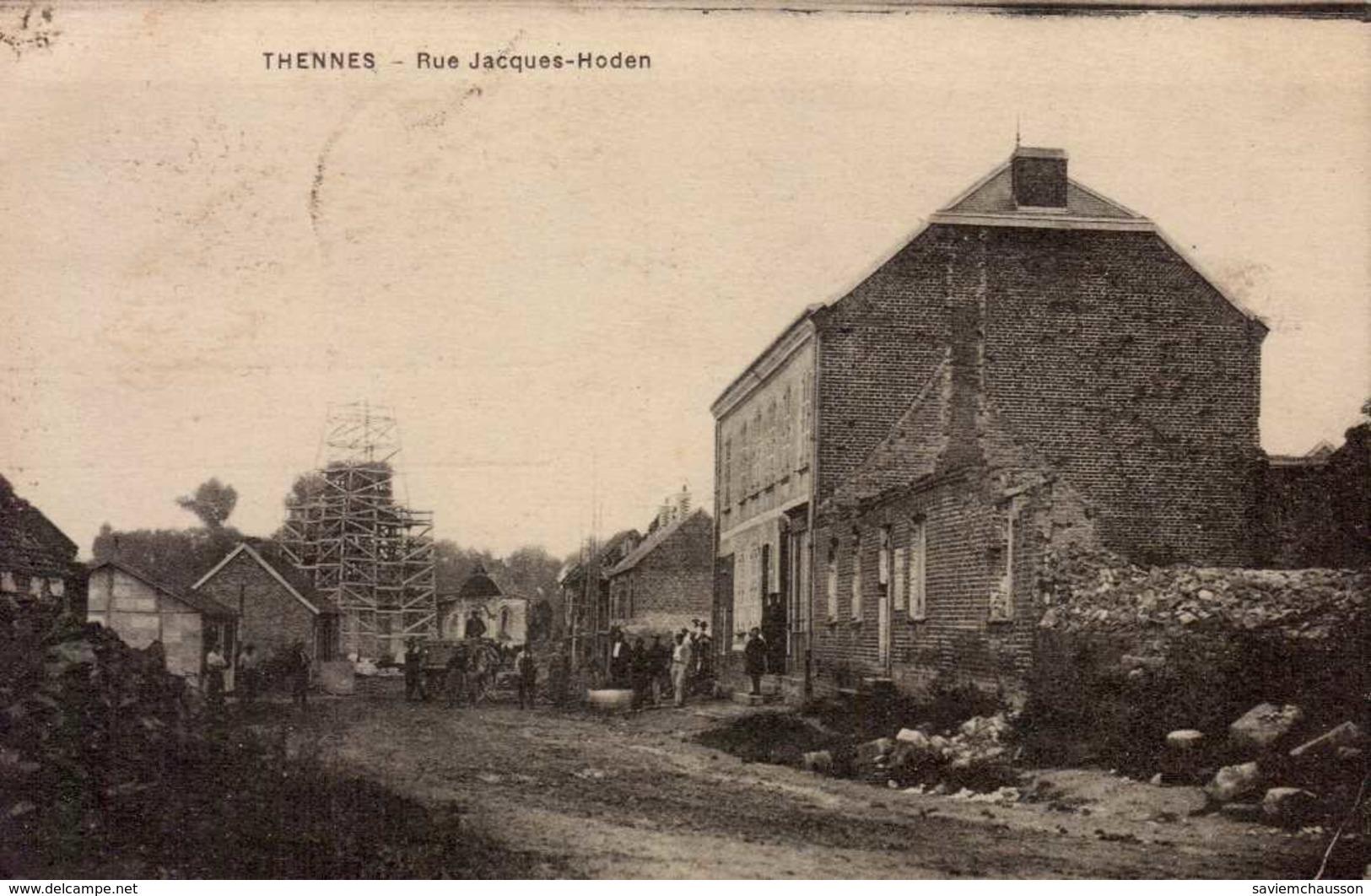 Cpa 80 Thennes Rue Jacques Hoden Reconstruction D'après Guerre 14 18 Travaux Echafaudage - France