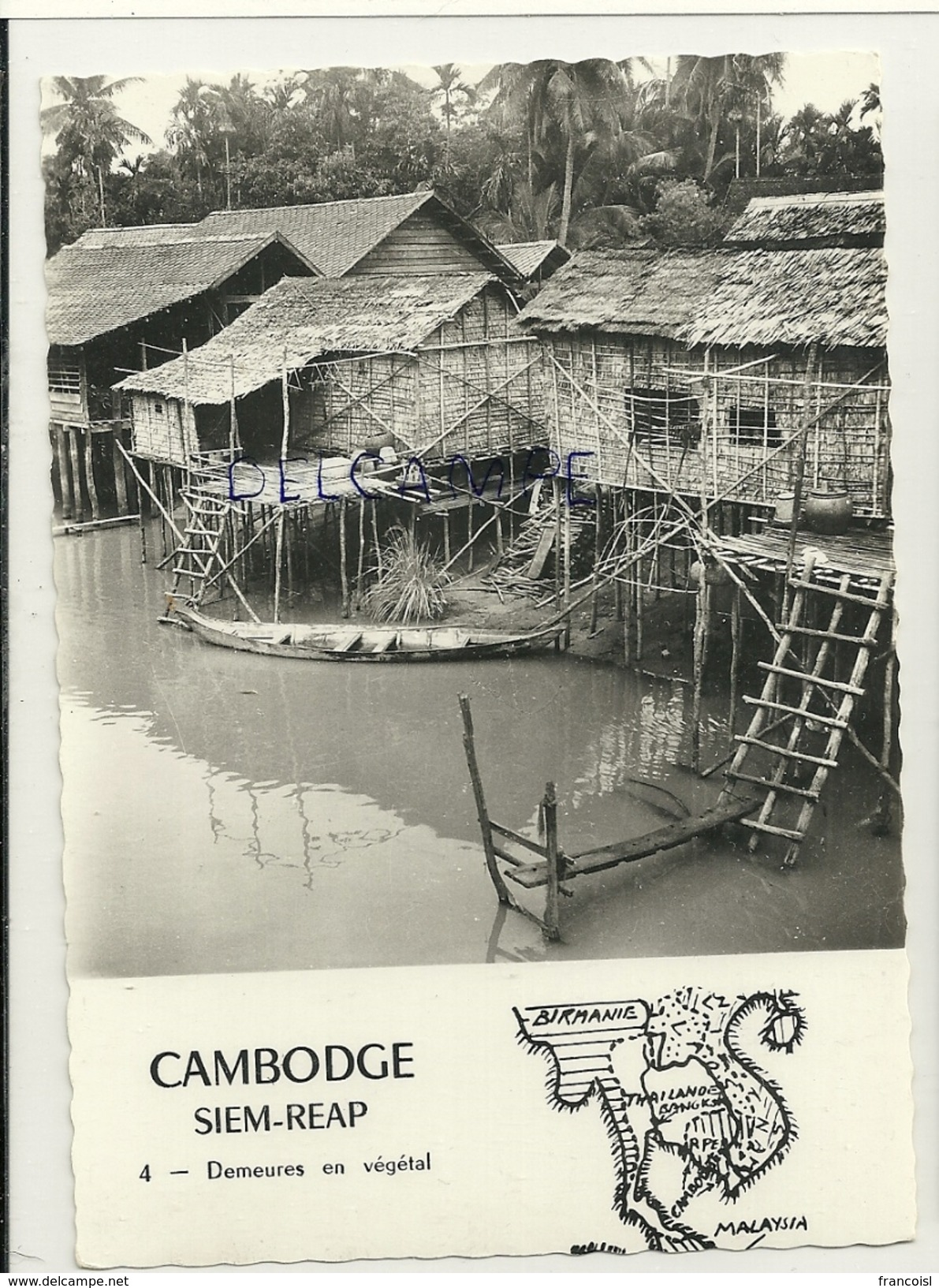 Cambodge. Siem-Reap. Demeures En Végétal. Sur Pilotis. Photo Véritable. Photo A. Robillard - Cambodge
