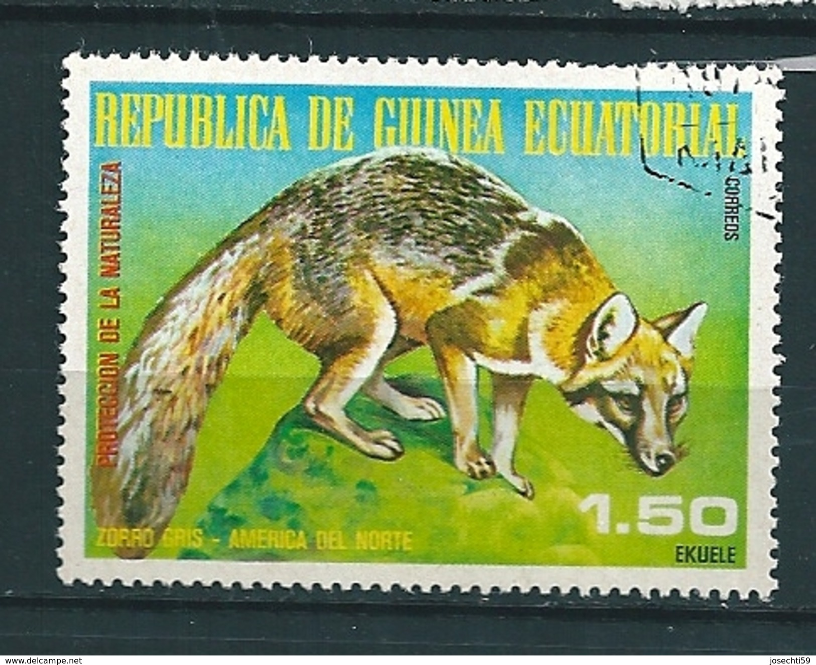 N° 108B Animaux Sauvages: Zorro Gris TIMBRE Guinée équatoriale (1977) Oblitéré - Guinée Equatoriale