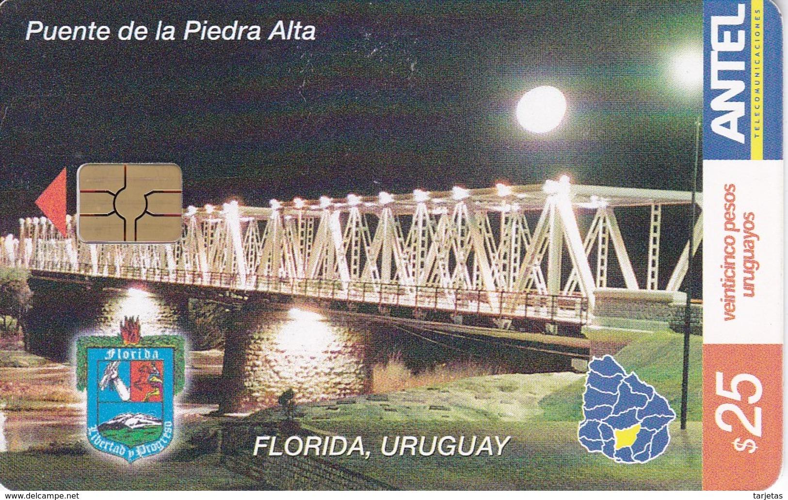 Nº 280 TARJETA DE URUGUAY DEL PUENTE DE LA PIEDRA ALTA EN FLORIDA - Uruguay