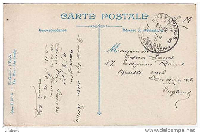 Colour Postcard: The War. The Exodus; Postes Militares Belgique-London, Aug 1917 - Guerra 1914-18
