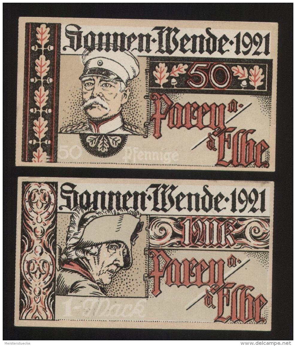 Notgeld - Parey A. D. Elbe - 50 Pf. + 1 Mk. Schein Der Spar- + Creditbank Parey - Bismarck +  Friedrich Der Große - Lokale Ausgaben