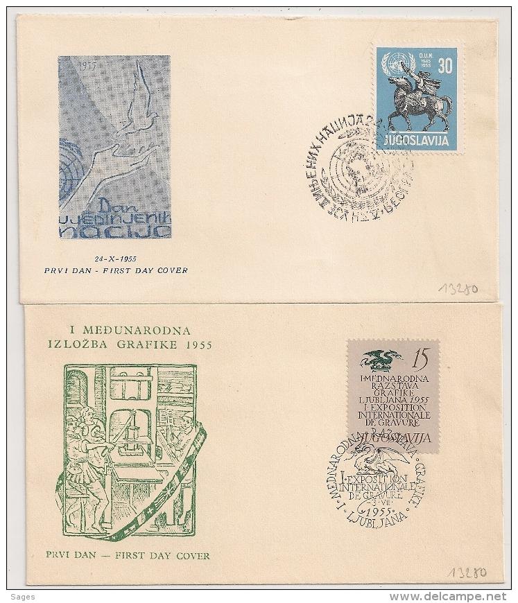 2 Covers JUGOSLAVIJA. YOUGOSLAVIE. 1955. - Covers & Documents