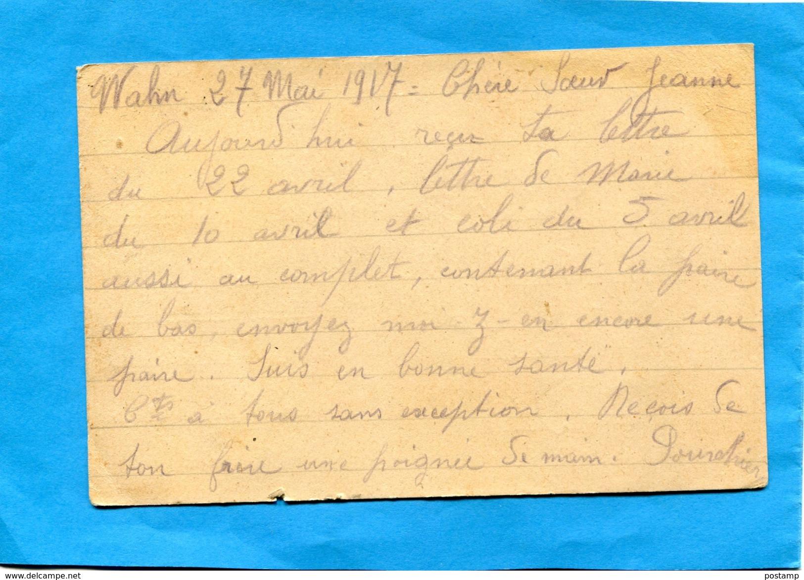 MARCOPHILIE-guerre 14-18-carte De Prisonnier Français -allemagne-camp De WAHN- A Voyagé -Censurée En 1917 - Marcophilie (Lettres)