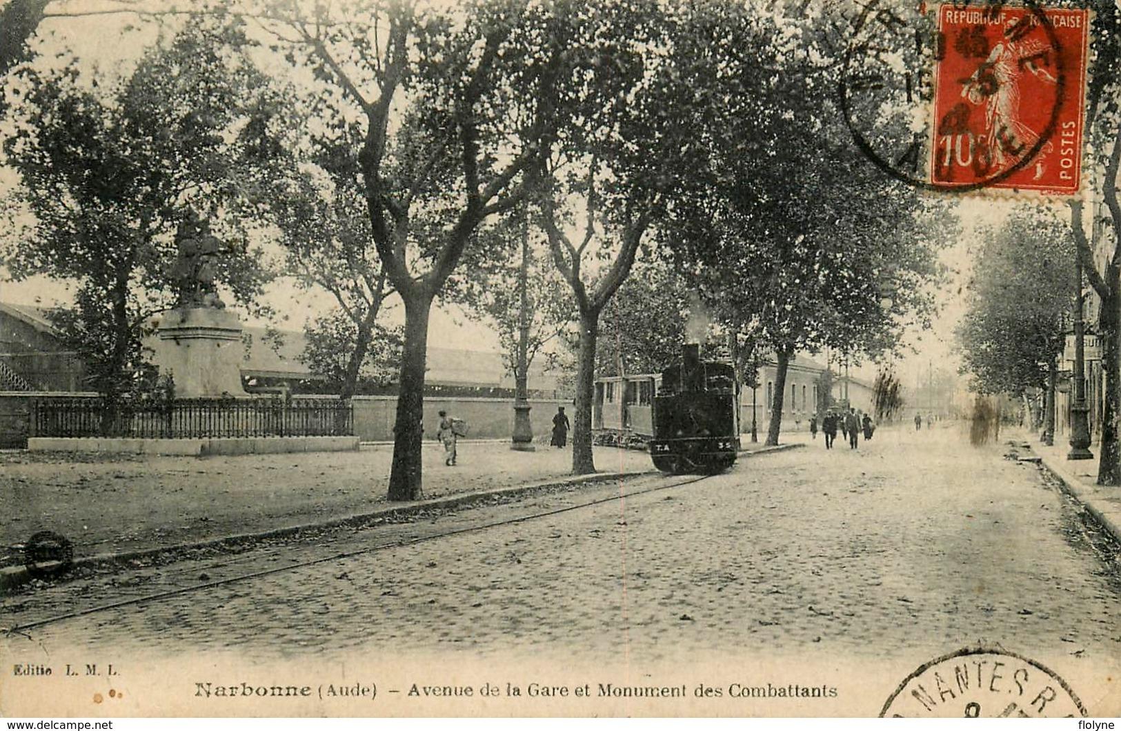 Narbonne - Train Locomotive - Avenue De La Gare Et Monument Des Combattants - Chemin De Fer - Belle Animation - Narbonne
