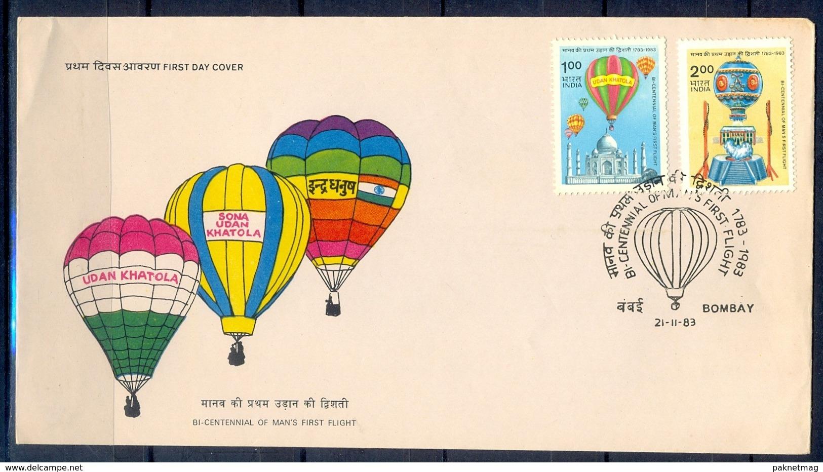 J353- India 1983. Manned First Flight Tajmahal Hot Balloon Parachute. - India