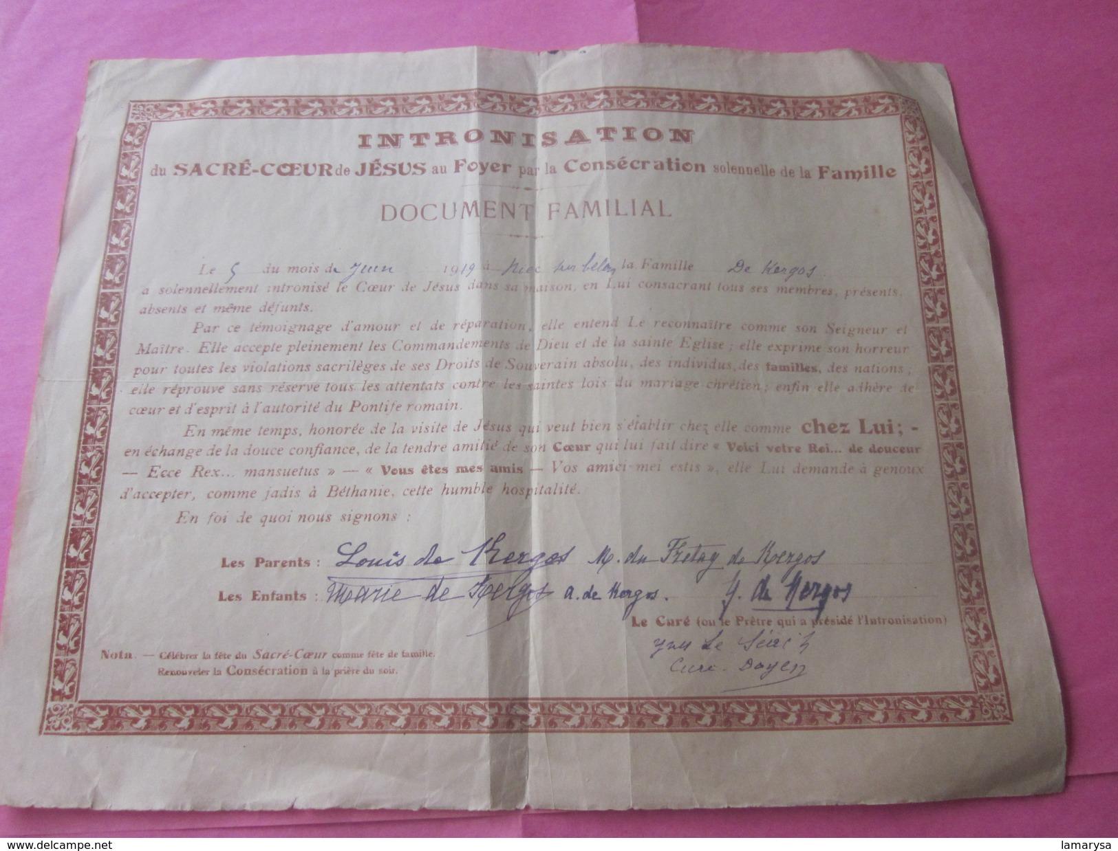 Riec-sur-Bélon 1919 INTRONISATION Sacré Cœur De Jésus O Foyer Consécration Solennelle Famille>Curé Prêtre Doyen Y. - Documents Historiques