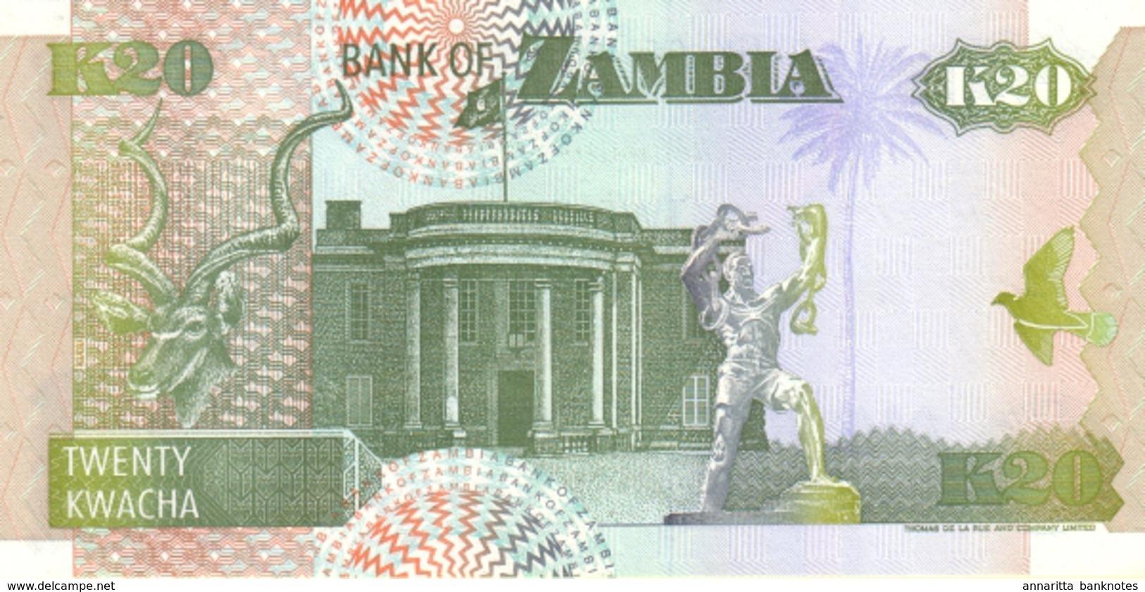 ZAMBIA 20 KWACHA 1992 (1995) P-36b UNC  [ZM137b] - Zambia