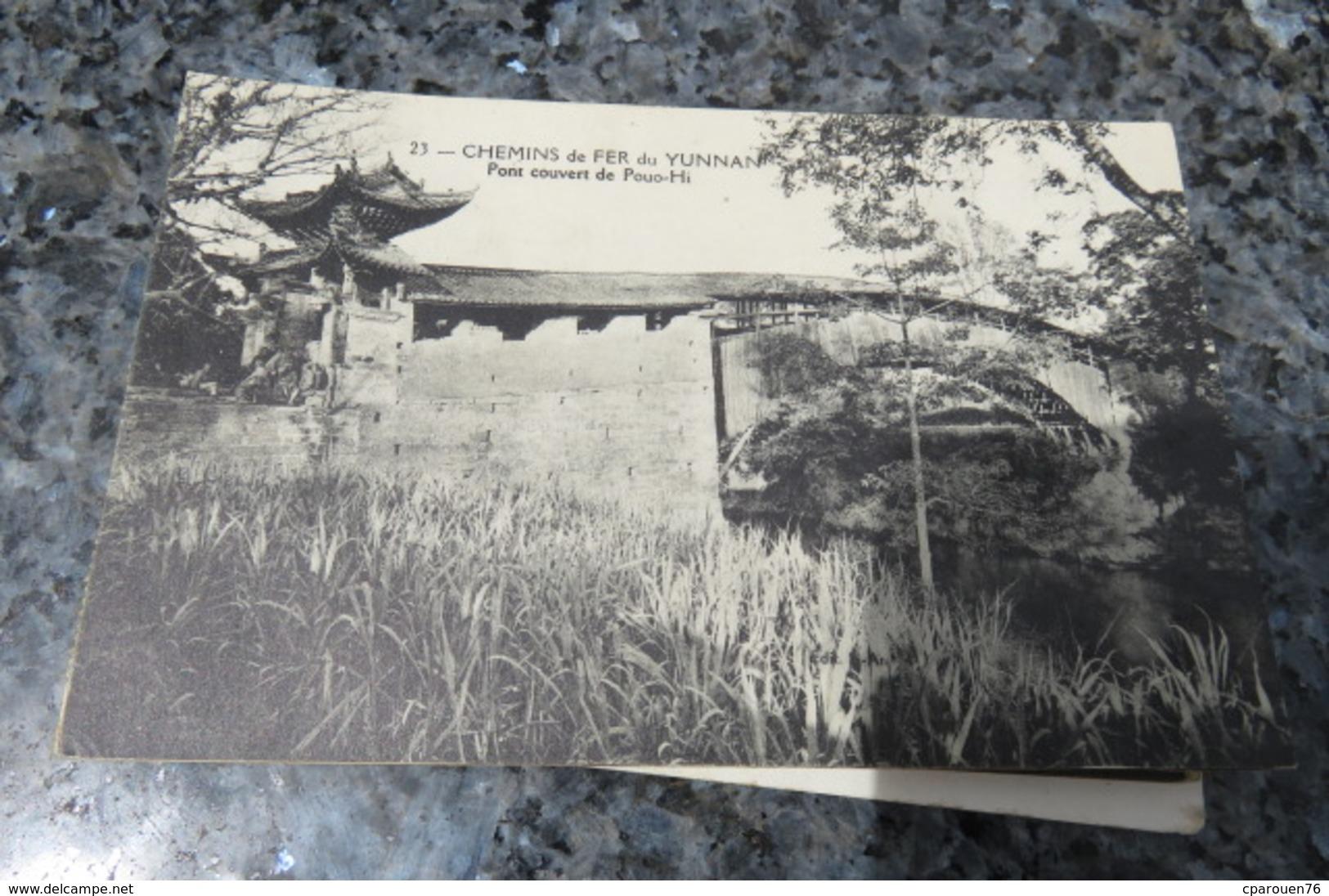 C P A Yunnan-Chemin De Fer Pont Couvert De Pouo-hi Asie Chine - Cina