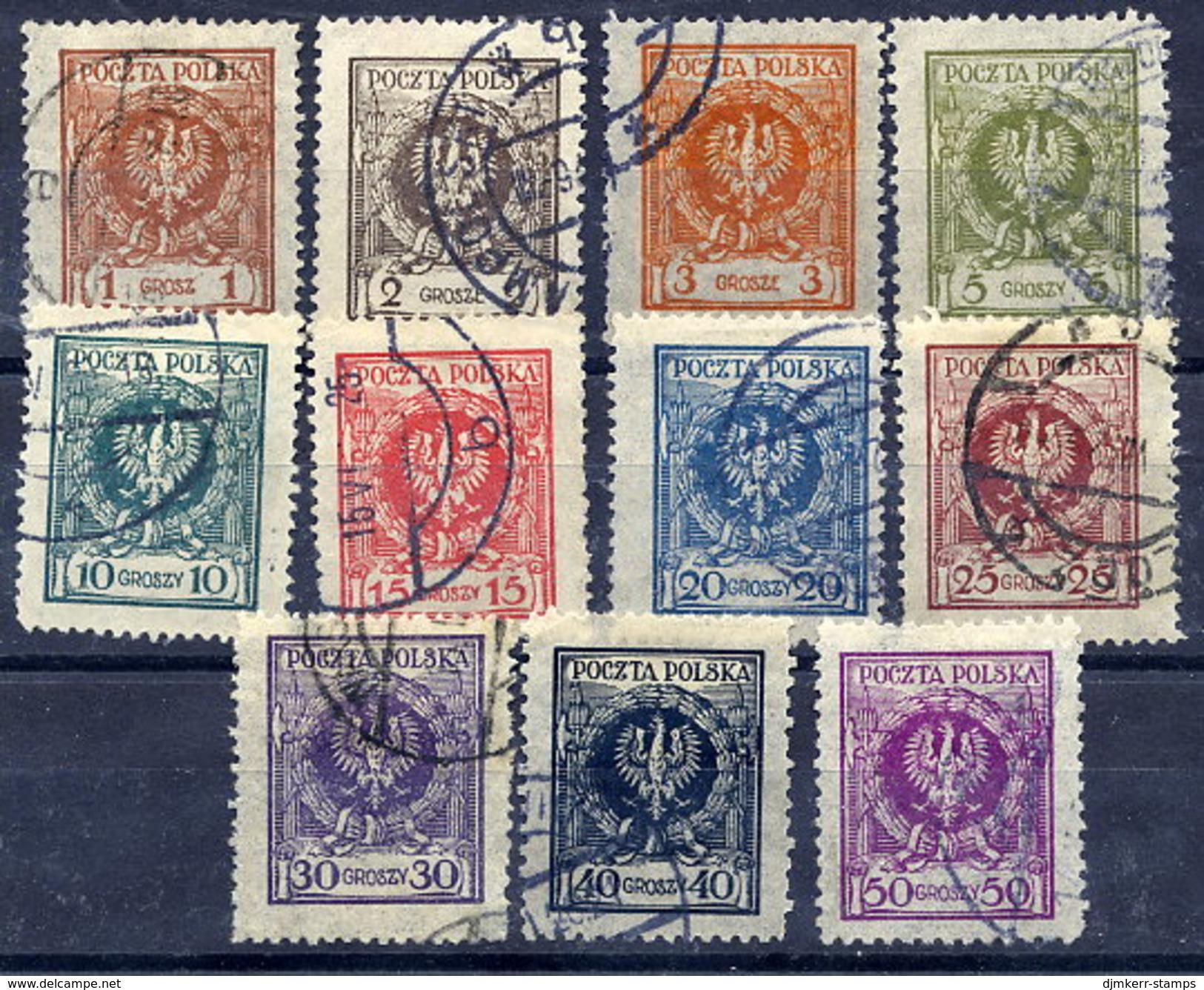 POLAND 1924 Eagle In Wreath Definitive Set Used.  Michel 201-11 - 1919-1939 Republic