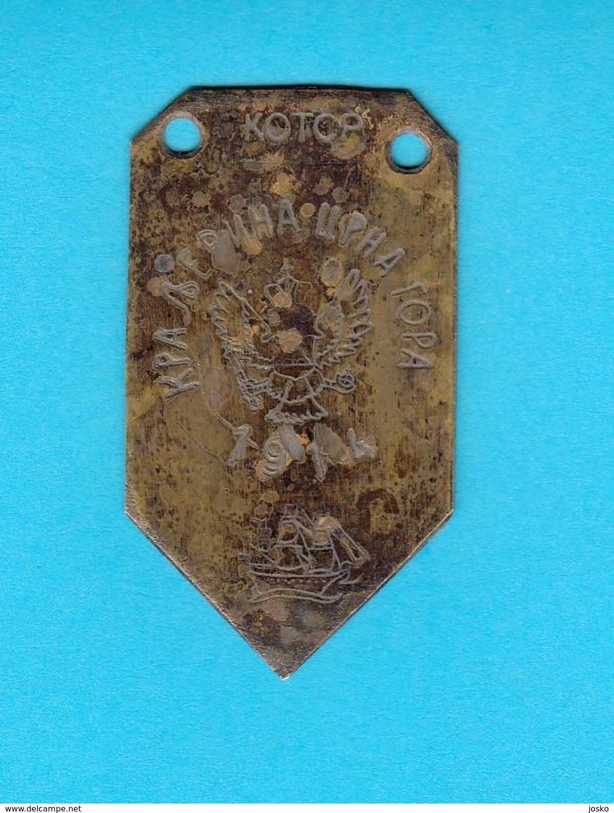 KOTOR - MONTENEGRO KINGDOM 1914. - Old Rare Brass Plate * Sailing Ship * Kraljevina Crna Gora - Other Collections