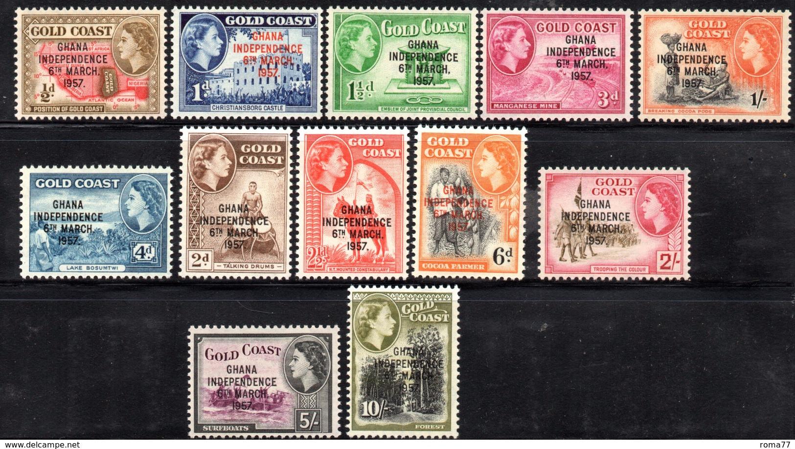 CI1104 - GHANA 1957 , Serie Yvert N. 1/9 ***  Proclamazione Indipendenza - Ghana (1957-...)